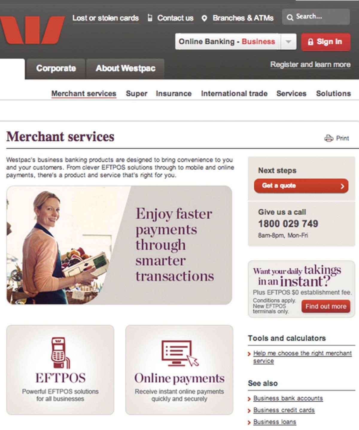 Westpac Online Banking Website - Andrew Georgiou Portfolio - The Loop